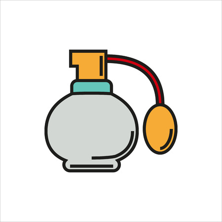 colored bottle: Perfume icon Created For Mobile, Web, Decor, Print Products, Applications. Color icon isolated. Vector illustration.