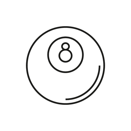 8 ball pool: Billiard icon on white background Created For Mobile, Web, Decor, Print Products, Applications. Icon isolated. Vector illustration. Illustration