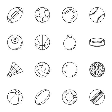 balones deportivos: Colección de iconos de deportes bolas de set en el fondo blanco. Elementos para productos de impresión de la empresa, la página web y la decoración. Ilustración del vector.