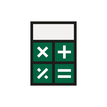 calc: calculator icon on white background Created For Mobile, Infographics, Web, Decor, Print Products, Applications. Icon isolated. Vector illustration