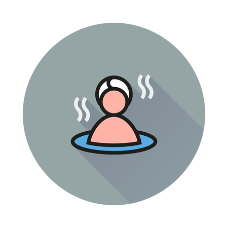 long recovery: Sauna icon on round background Created For Mobile, Web, Decor, Print Products, Applications. Icon isolated. Vector illustration Illustration