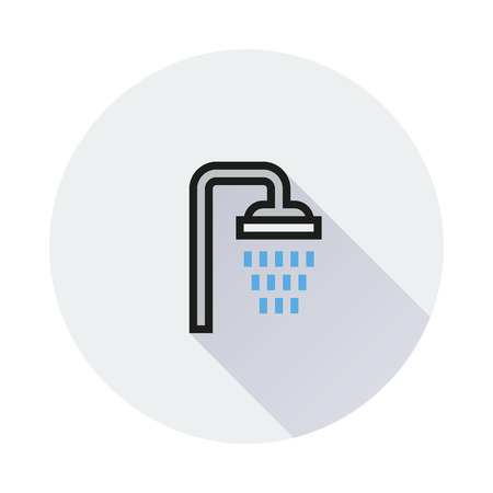 showering: Shower icon on round background Created For Mobile, Web, Decor, Print Products, Applications. Icon isolated. Vector illustration