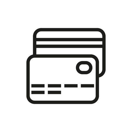 transact: credit card icon on white background Created For Mobile, Web, Decor, Print Products, Applications. Icon isolated. Vector illustration