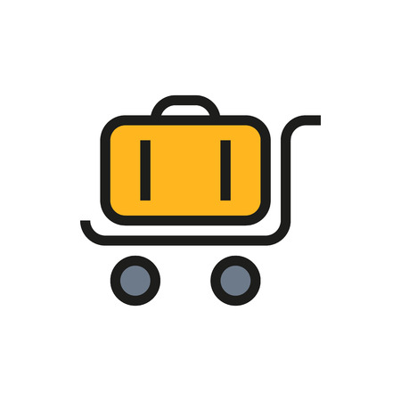 luggage carrier: trolley luggage icon on white background Created For Mobile, Web, Decor, Print Products, Applications. Icon isolated. Vector illustration