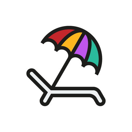 recliner: Umbrella Recliner icon on white background Created For Mobile, Web, Decor, Print Products, Applications. Icon isolated. Vector illustration Illustration
