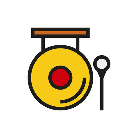 Chinese golden gong and hammer icon on white background Created For Mobile, Web, Decor, Print Products, Applications. Icon isolated. Vector illustration