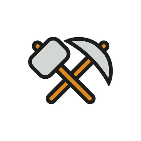 pickaxe: pick-axe and hammer icon on white background Created For Mobile, Infographics, Web, Decor, Print Products, Applications. Icon isolated. Vector illustration Illustration