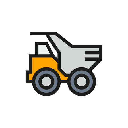 Dump truck icon on white background Created For Mobile, Infographics, Web, Decor, Print Products, Applications. Icon isolated. Vector illustration