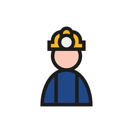 coal miner: Coal miner icon on white background Created For Mobile, Infographics, Web, Decor, Print Products, Applications. Icon isolated. Vector illustration