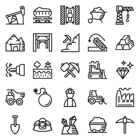 gold mine: Mining Icon collection for web, app. Vector illustration on white background