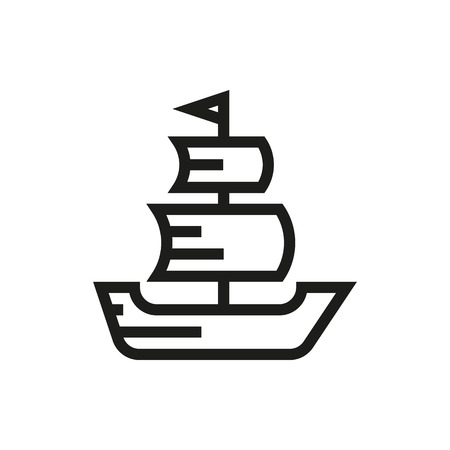 frigate: Sailing ship icon on white background Created For Mobile, Infographics, Web, Decor, Print Products, Applications. Icon isolated. Vector illustration