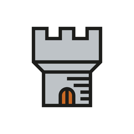 fortification: Medieval castle tower icon on white background Created For Mobile, Infographics, Web, Decor, Print Products, Applications. Icon isolated. Vector illustration