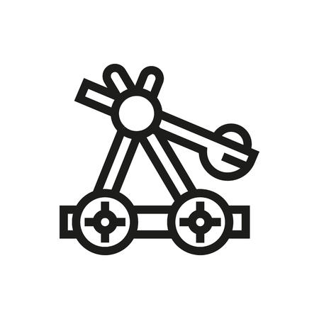 catapult: old medieval wooden catapult icon on white background Created For Mobile, Infographics, Web, Decor, Print Products, Applications. Icon isolated. Vector illustration