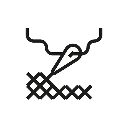 stitching: cross stitching icon on white background Created For Mobile, Infographics, Web, Decor, Print Products, Applications. Icon isolated. Vector illustration