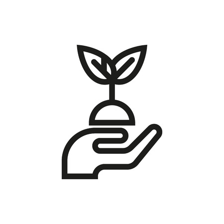 hands holding plant: hands holding plant icon on white background Created For Mobile, Web, Decor, Print Products, Applications. Icon isolated. Vector illustration