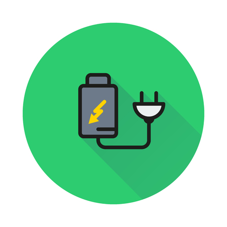battery charger by electric plug icon on round background Created For Mobile, Web, Decor, Print Products, Applications. Icon isolated. Vector illustration Illustration