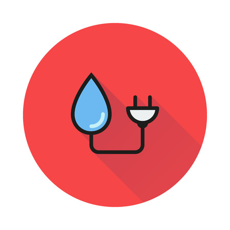 hydroelectric: Pictograph hydro-electric vector icon icon on round background Created For Mobile, Web, Decor, Print Products, Applications. Icon isolated. Vector illustration
