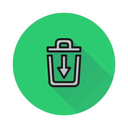 scrapyard: trash bin icon on round background Created For Mobile, Web, Decor, Print Products, Applications. Icon isolated. Vector illustration Illustration