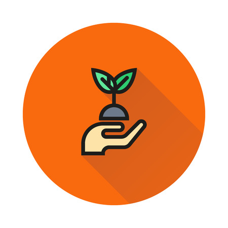 hands holding plant: hands holding plant icon on round background Created For Mobile, Web, Decor, Print Products, Applications. Icon isolated. Vector illustration