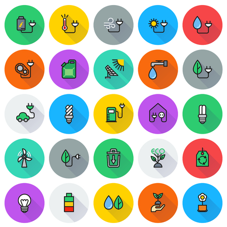 eco icon: Eco icon set on round background Created For Mobile, Web, Decor, Print Products, Applications. Icon isolated. Vector illustration