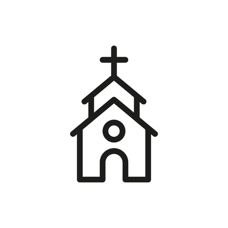 chapel: Cute Church or Chapel on white background Created For Mobile, Web, Decor, Print Products, Applications. Icon isolated. Vector illustration