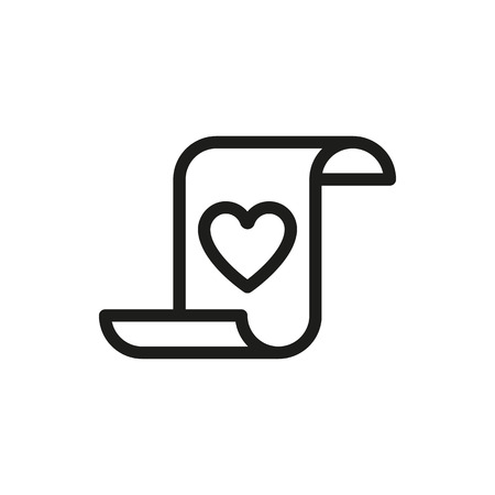 coeur sur la lettre de papirus sur fond blanc créé pour Mobile, Web, décoration, produits d'impression, Applications. Icône isolé. Vector illustration