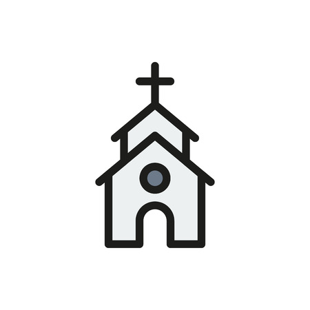 Cute Church or Chapel on white background Created For Mobile, Web, Decor, Print Products, Applications. Icon isolated. Vector illustration