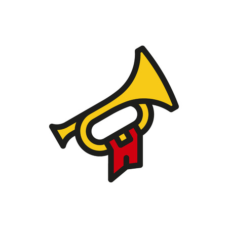 Bugle Hunting Horn on white background Created For Mobile, Web, Decor, Print Products, Applications. Icon isolated. Vector illustration