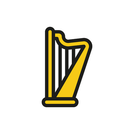 Vector harp on white background Created For Mobile, Web, Decor, Print Products, Applications. Icon isolated. Vector illustration