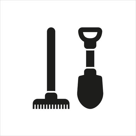 raking: Shovel and rake icon isolated on white background Created For Mobile, Web, Decor, Print Products, Applications. Icon isolated. Illustration