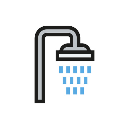 showering: Shower icon on white background Created For Mobile, Web, Decor, Print Products, Applications. Icon isolated. Illustration