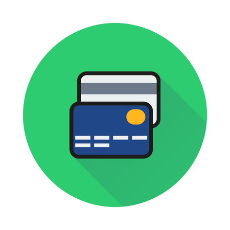 transact: credit card icon on round background Created For Mobile, Web, Decor, Print Products, Applications. Icon isolated.