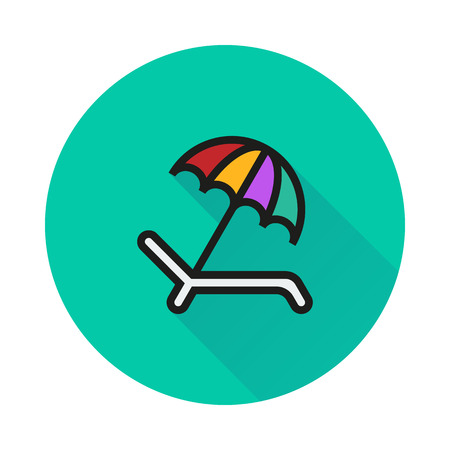recliner: Umbrella Recliner icon on round background Created For Mobile, Web, Decor, Print Products, Applications. Icon isolated. Illustration
