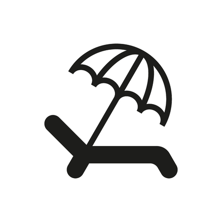 recliner: Umbrella Recliner icon on white background Created For Mobile, Web, Decor, Print Products, Applications. Icon isolated.
