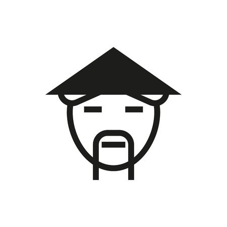 countryman: countryman in asian hat icon on white background Created For Mobile, Web, Decor, Print Products, Applications. Icon isolated.