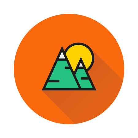 Mountains and sun icon on round background Created For Mobile, Web, Decor, Print Products, Applications. Icon isolated.