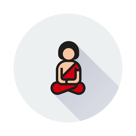 man meditating: A man meditating in lotus pose icon on round background Created For Mobile, Web, Decor, Print Products, Applications. Icon isolated. Illustration