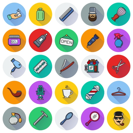 Set of Barber Shop Elements and Shave Shop Icons Illustration can be used as Icon in premium quality