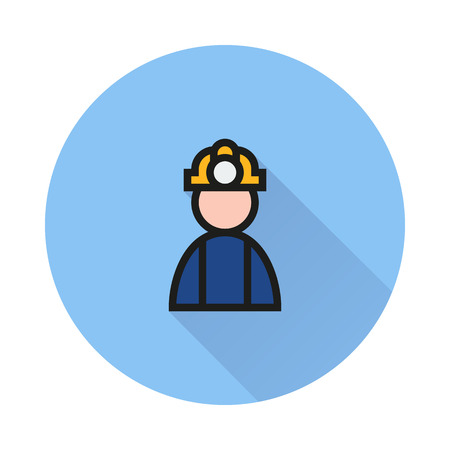 coal miner: Coal miner icon on round background Created For Mobile, Infographics, Web, Decor, Print Products, Applications. Icon isolated. Illustration