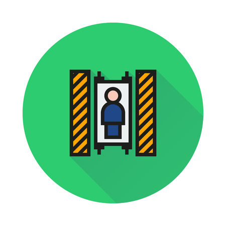 elevate: Elevator icon on round background Created For Mobile, Infographics, Web, Decor, Print Products, Applications. Icon isolated.