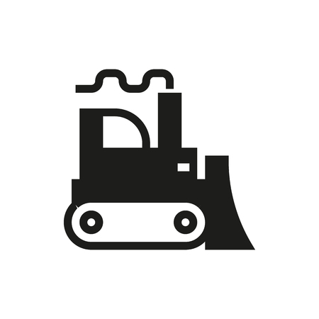 excavating: Bulldozer icon on white background Created For Mobile, Infographics, Web, Decor, Print Products, Applications. Icon isolated.