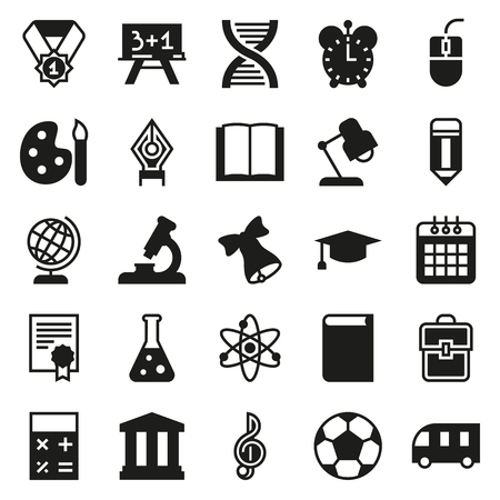icon collection: Black simple icon collection - School education.