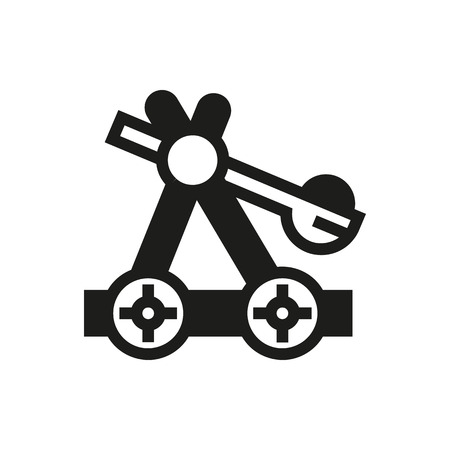 catapult: old medieval wooden catapult icon on white background Created For Mobile, Infographics, Web, Decor, Print Products, Applications. Icon isolated. Illustration