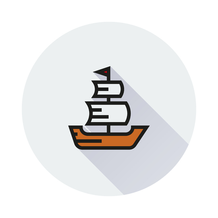 frigate: Sailing ship icon on round background Created For Mobile, Infographics, Web, Decor, Print Products, Applications. Icon isolated. Illustration