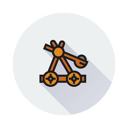 catapult: old medieval wooden catapult icon on round background Created For Mobile, Infographics, Web, Decor, Print Products, Applications. Icon isolated. Illustration