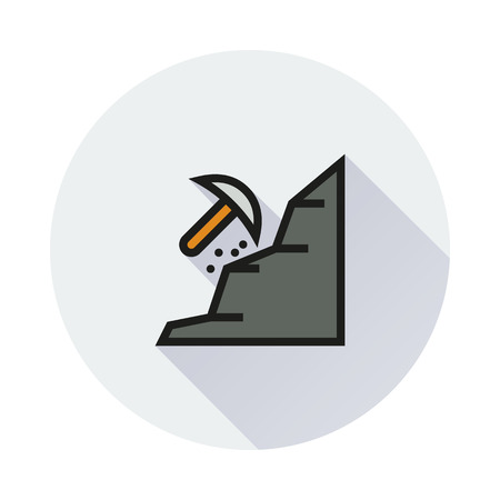 mattock: mining icon on round background Created For Mobile, Infographics, Web, Decor, Print Products, Applications. Icon isolated.