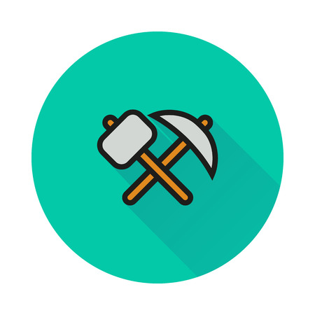 pickaxe: pick-axe and hammer icon on round background Created For Mobile, Infographics, Web, Decor, Print Products, Applications.