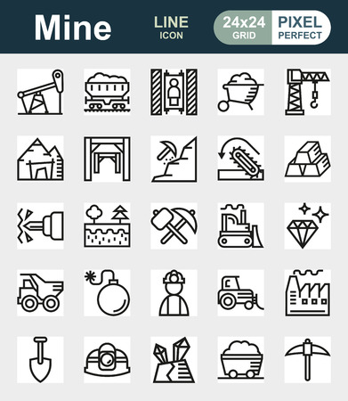 gold mine: Mining Icon collection for web, app.
