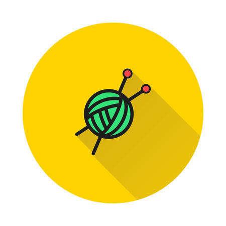 Threads for knitting, spokes icon on round background Created For Mobile, Web, Decor, Print Products, Applications. Иллюстрация