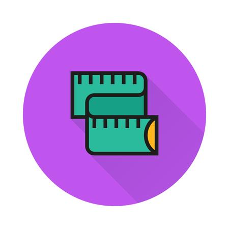 cintas metricas: Icono de medición del medidor en el fondo redondo Creado para el móvil, infografía, web, decoración, impresión Productos, Aplicaciones.